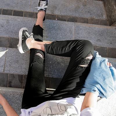 1区韩国本土服装代购(韩国圆通直发)09women-皮筋破旧漏洞长裤(2018-04-24上架)
