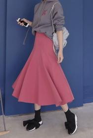 2018新款韩国服装11am品牌纯色荷叶边气质流行长裙(2018.1月)