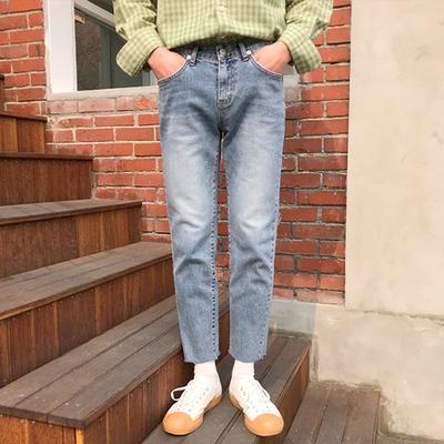1区韩国本土服装代购(韩国圆通直发)906studio-休闲百搭磨边九分牛仔裤(2018-04-14上架)