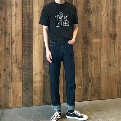 1区韩国本土服装代购(韩国圆通直发)906studio-休闲百搭直筒牛仔裤(2018-04-14上架)