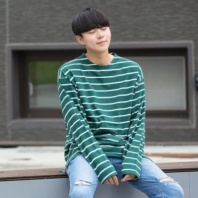 aboki-韩版条纹魅力条纹T恤