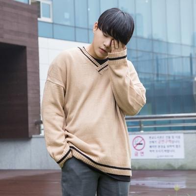 aboki-男士帅气V领简约针织衫
