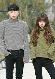 1区2017冬季新款韩国服装aboki品牌韩版条纹舒适魅力T恤(2017.11月)