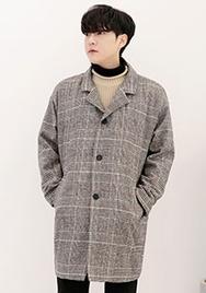 1区2017冬季新款韩国服装aboki品牌韩版休闲格纹舒适大衣(2017.12月)