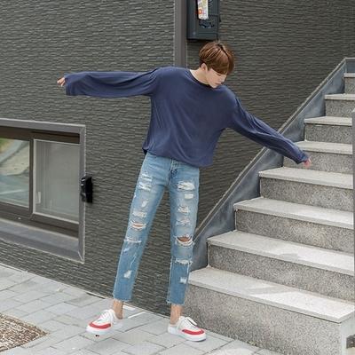 1区韩国本土服装代购(韩国圆通直发)aboki-休闲舒适纯色长袖T恤(2018-07-10上架)
