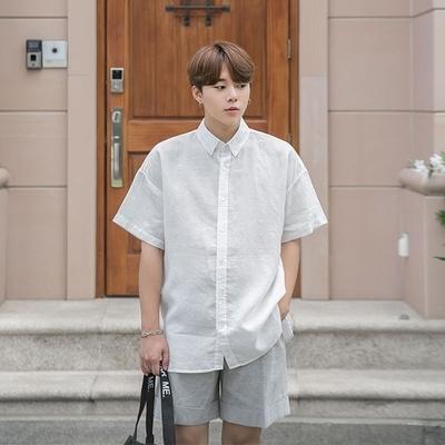 1区韩国本土服装代购(韩国圆通直发)aboki-百搭纯色短袖衬衫(2018-07-11上架)