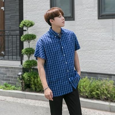 1区韩国本土服装代购(韩国圆通直发)aboki-休闲个性格纹短袖衬衫(2018-07-11上架)