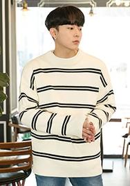 2018新款韩国服装aboki品牌男士魅力条纹时尚针织衫(2018.1月)