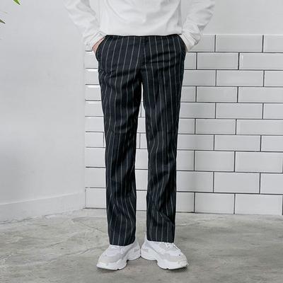 aboki-休闲舒适竖纹长裤