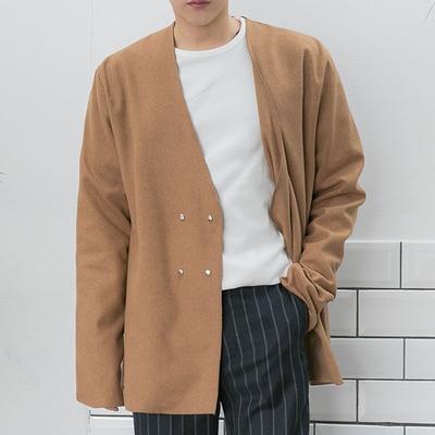 aboki-休闲舒适纯色双排扣开襟衫