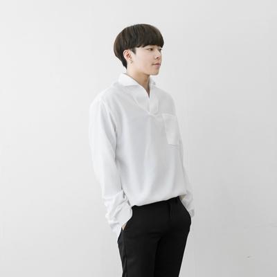 1区韩国本土服装代购(韩国圆通直发)aboki-纯色百搭V领衬衫(2018-04-14上架)