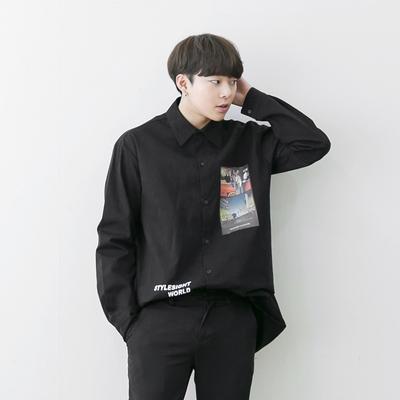 1区韩国本土服装代购(韩国圆通直发)aboki-休闲个性图案单排扣衬衫(2018-04-14上架)