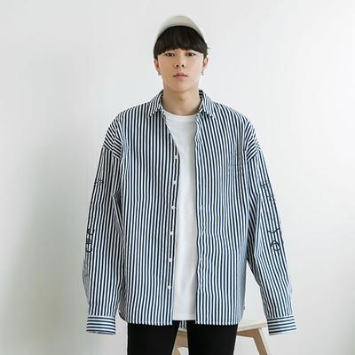 1区韩国本土服装代购(韩国圆通直发)aboki-休闲舒适条纹单排扣衬衫(2018-04-14上架)