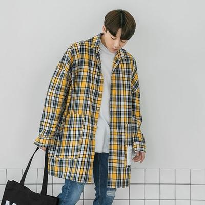 1区韩国本土服装代购(韩国圆通直发)aboki-格纹单排扣宽松衬衫(2018-04-14上架)