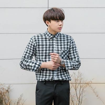 1区韩国本土服装代购(韩国圆通直发)aboki-时尚单排扣格纹衬衫(2018-04-14上架)