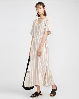 A-IN-条纹V领设计新款连衣裙