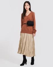 2018新款韩国服装A-IN品牌V领宽松冬季保暖针织衫(2018.1月)