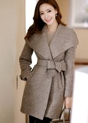 1区韩国代购正品验证attrangs-AGCT00831252-高档气质细带毛呢大衣