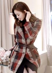 1区韩国代购正品验证attrangs-AGCT00831243-气质格纹腰带套装大衣