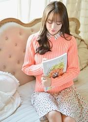 1区韩国代购正品验证attrangs-AGKN00848720-糖果色竹节简约针织衫