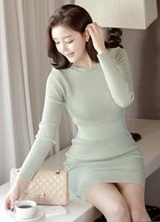 1区韩国代购正品验证attrangs-AGOP00849341-竹节针织修身简约连衣裙