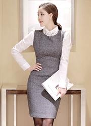 1区韩国代购正品验证attrangs-AGOP00849342-优雅气质修身百搭连衣裙