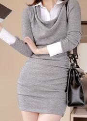 1区韩国代购正品验证attrangs-AGOP00849347-衬衫领装饰修身淑女连衣裙