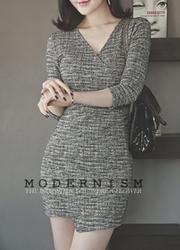 1区韩国代购正品验证attrangs-AGOP00849350-魅力淑女修身V领连衣裙