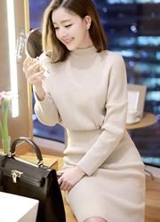 1区韩国代购正品验证attrangs-AGOP00849344-气质淑女修身针织长针织连衣裙