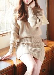 1区韩国代购正品验证attrangs-AGOP00849346-魅力肩开线针织淑女连衣裙