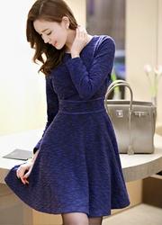 1区韩国代购正品验证attrangs-AGOP00849345-甜美粗花呢淑女喇叭连衣裙(制作商品)