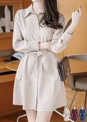 1区韩装网2016韩国服装|韩国代购服装一件代发货源attrangs官网韩国个性纯色系带连衣裙(2016.8)