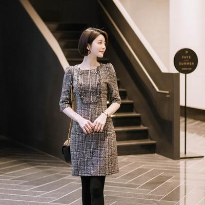 attrangs-韩版格纹秀气舒适魅力连衣裙