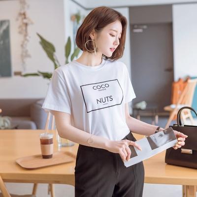 1区韩国本土服装代购(韩国圆通直发)attrangs-休闲字母短袖T恤(2018-04-14上架)