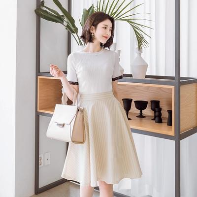 1区韩国本土服装代购(韩国圆通直发)attrangs-时尚风格蕾丝T恤(2018-04-14上架)