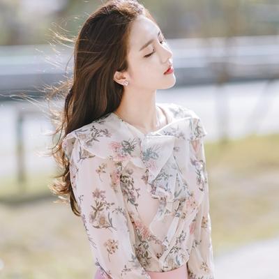 1区韩国本土服装代购(韩国圆通直发)attrangs-优雅气质碎花衬衫(2018-04-19上架)