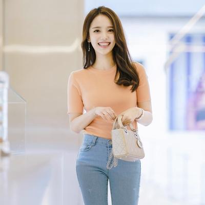 1区韩国本土服装代购(韩国圆通直发)attrangs-时尚流行短袖针织衫(2018-04-24上架)