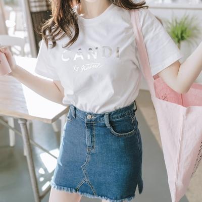 1区韩国本土服装代购(韩国圆通直发)attrangs-简约字母短袖T恤(2018-04-14上架)