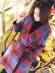 1区韩国代购正品验证aura-j-AJCT00831234-长版配色格纹魅力系带毛呢大衣