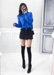 2018新款韩国服装babinpumkin品牌前拉链牛仔时尚裙裤(2018.1月)