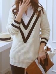 1区韩国代购正品验证babirolen-BAKN00766261-拼色宽松舒适新款百搭针织衫