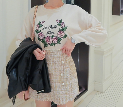 babirolen-甜美风格玫瑰刺绣针织衫