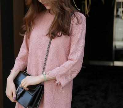 babirolen-魅力蕾丝纯色连衣裙