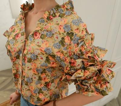 babirolen-百搭夏季花纹雪纺衫
