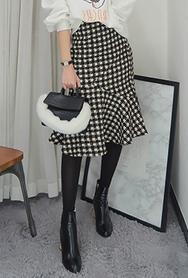 1区2017冬季新款韩国服装babirolen品牌韩版时尚格纹中裙(2017.11月)