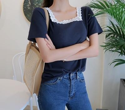 1区韩国本土服装代购(韩国圆通直发)babirolen-韩版方领蕾丝T恤(2018-07-11上架)