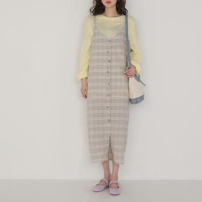 1区韩国本土服装代购(韩国圆通直发)Banharu-V领单排扣格子连衣裙(2018-05-09上架)