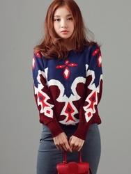 1区韩国代购正品验证boen-BOKN00765038-韩国新品圆领混色针织衫