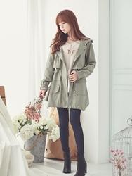 1区韩国代购正品验证bongjashop-BJCT00755942-休闲宽松高档人气卡其色大衣