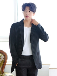 1区2017夏装新款|正宗韩国代购韩国发货|boomstyle品牌韩国条纹气质绅士西装(2017.7月)